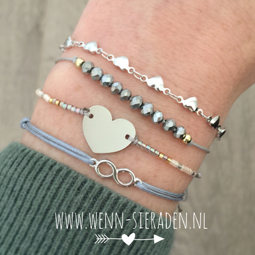 Armband hartje - stainless steel