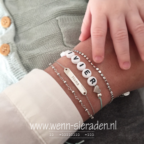 Armband - dots zilver