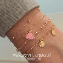 Armband - dots rose goud
